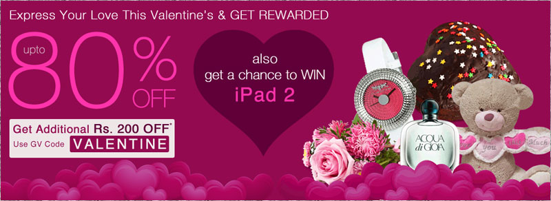 Rs. 200 off on 1000 and win Ipad this Valentine Day