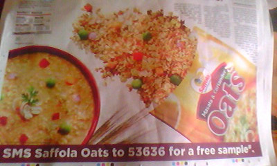 Get Free sample of Saffola Masala Oats thorugh SMS