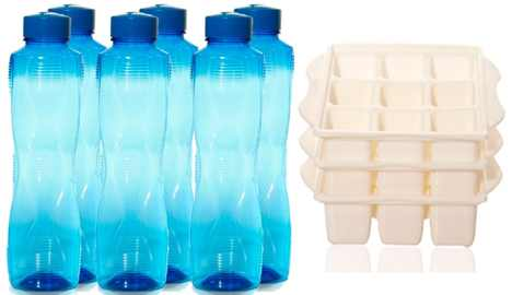 Set of 6 Pearl Pet Bottles & 3 Guess Ice Trays Combo at just Rs.199