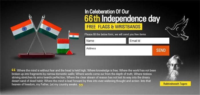 Get Free Flags & Wristbands - 66th Independence Day 2012