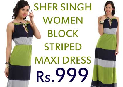 Sher Singh Women Block Striped Maxi Dress at just Rs.999 @ Myntra