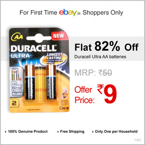 Duracell batteries at Just Rs.9