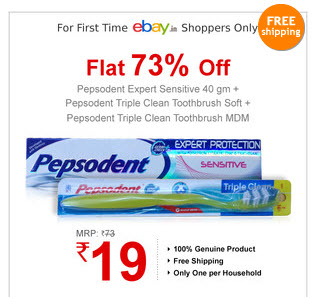 Pepsodent Expert Sensitive 40 Gms with 2 Triple Clean Toothbrush at Just Rs.19 personal care