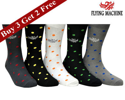 Flying Machine Grey & Black Dotted Set Of 5 Socks at Rs.329 mens apparel