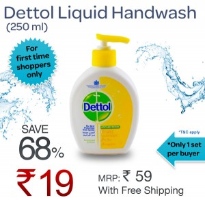 Get Dettol Liquid Handwash (250 ml) @ Rs.19/- (Free Shipping)