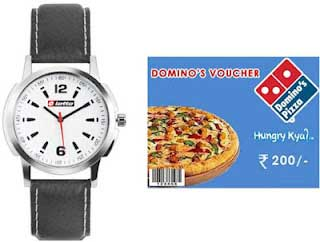 Get Lotto Gents Watch + FREE Rs.200 Domino's Gift Voucher at just Rs.419