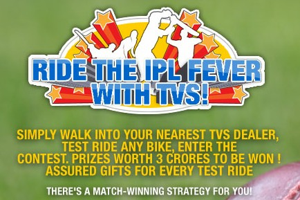 Get free Indiatimes Rs.250 off Coupon by Take Test drive of TVS