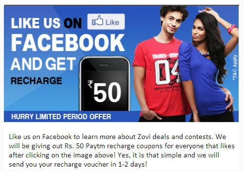 Zovi Free Recharge of Rs.50