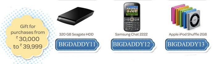 Gifts for purchases from Rs.30000 to Rs.39999