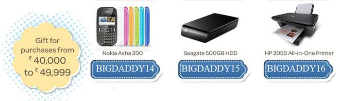Gifts for purchases from Rs.40000 to Rs.49999